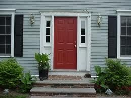 Gray siding red door black shutters exterior house red - Front door colors for grey house ...