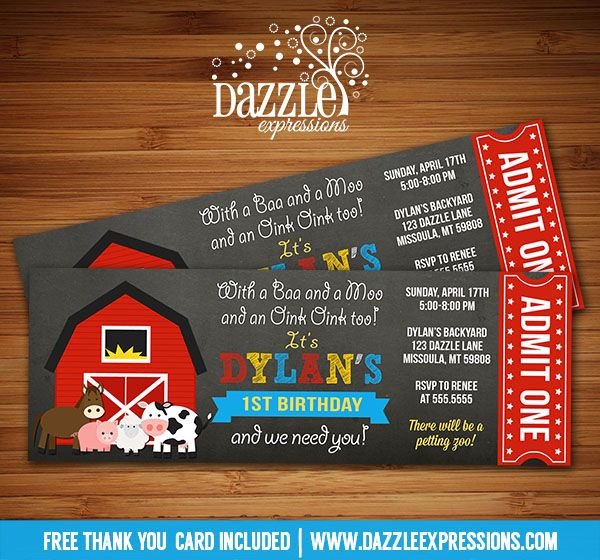 Printable Barnyard Chalkboard Ticket Birthday Invitation Farm - free ticket invitation template