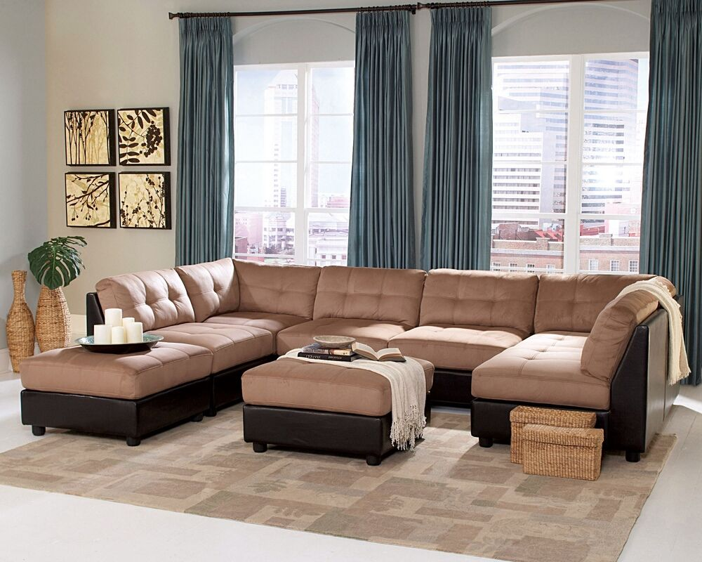6 pc Claude collection two tone modular sectional sofa with Buff brown microfiber and dark brown : dark brown sectional couch - Sectionals, Sofas & Couches
