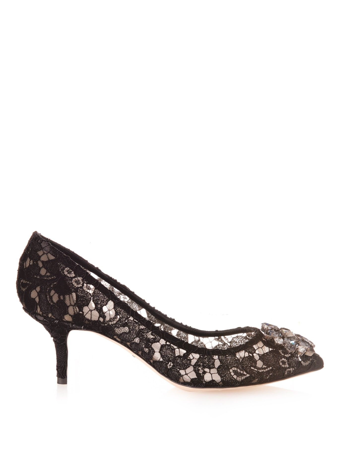 Embellished lace pumps by Dolce & Gabbana | Shop now at #MATCHESFASHION.COM