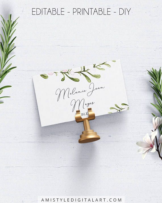 Greenery Wedding Place Cards, with sophisticated and original - place card template