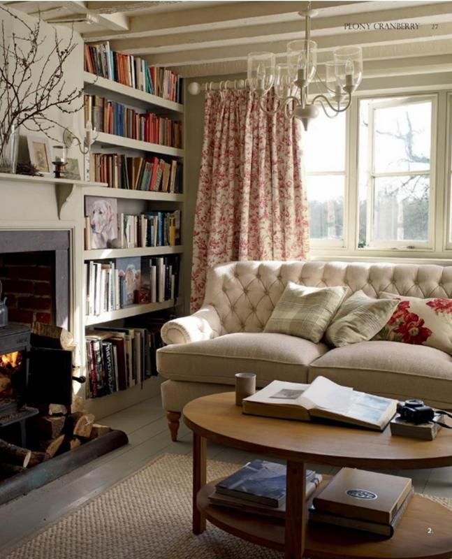 Cottage Living Room! Black Fireplace Stove Chintz Drapes