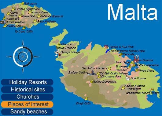 Interactive Map of Malta - Places of interests in Malta ... on san marino, malta people, malta region map, malta points of interest, malta street map, malta weather, malta russia map, emma heming, malta beaches, malta portugal map, cape verde islands map, malta capital map, italy map, maltese map, st.julians malta map, paul in malta map, malta bus route map, malta popeye s, malta climate map, malaysia map, sliema malta map,
