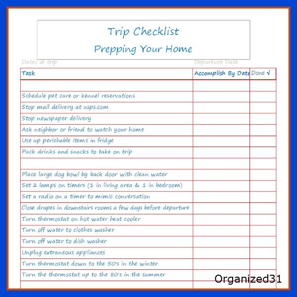 Going On A Trip House Preparation Checklist Printable Vacation