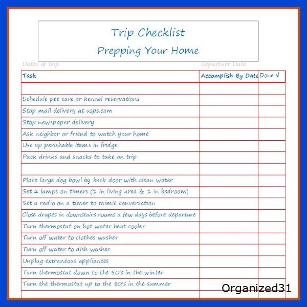 going on a trip house preparation checklist printable