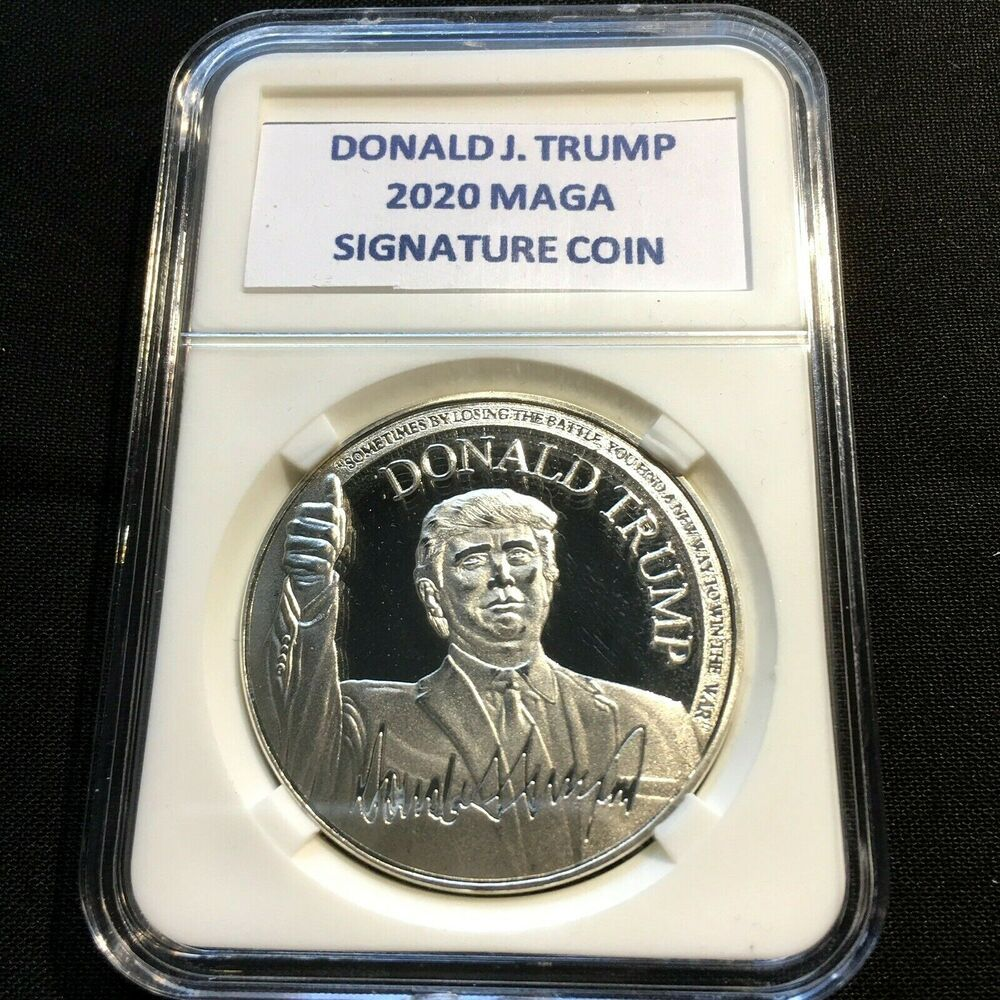 Case KEEP AMERICA GREAT Silver/&Gold 40MM yu Donald J Trump 2020 Challenge Coin
