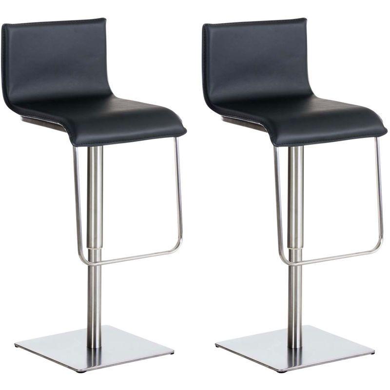 Lot De 2 Tabourets De Bar Limon Similicuir Noir Acier Affine Clp311328 Bar Stools Stool Chair