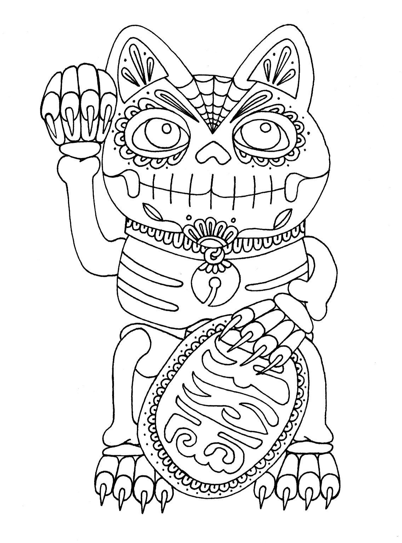 Wenchkin S Coloring Pages Dia De Los Maneki Neko Lucky Cat