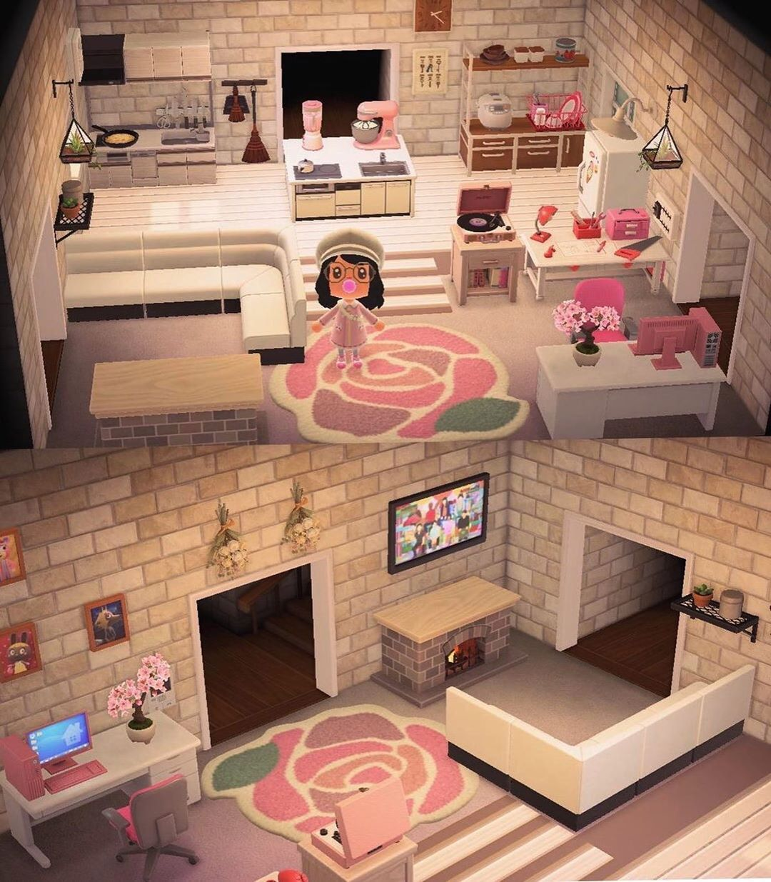 Animal Crossing Inspiration On Instagram Kitchen And Living Room In One By Ariepudo Reddit An In 2020 Animal Crossing House Decorating Themes Kitchen Set Up