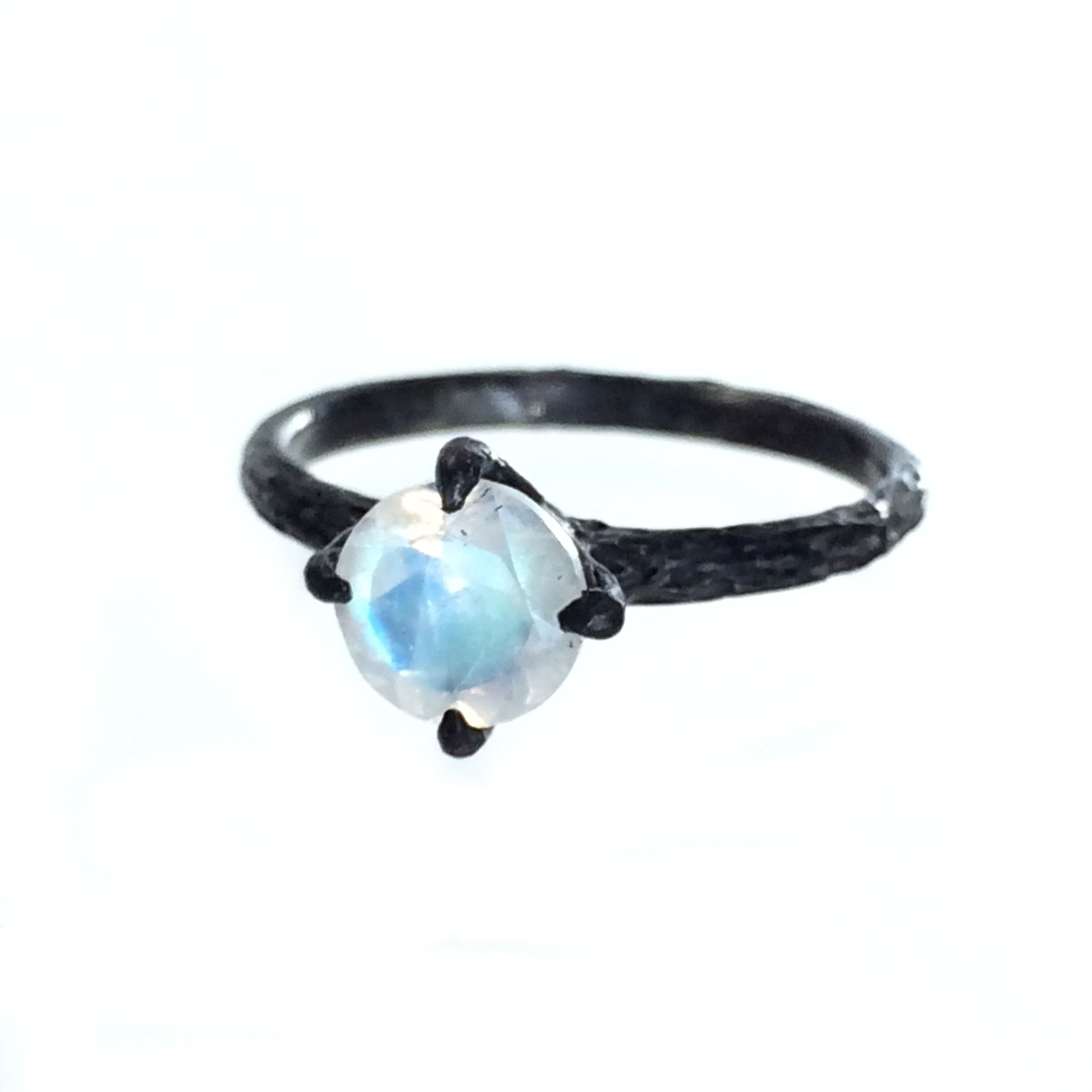 Moonstone twig engagement ring nature inspired oxidized jewelry
