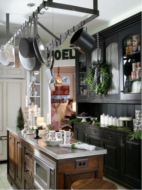 Weihnachtsdeko Landhausstil dunkle küchenschränke frische ...