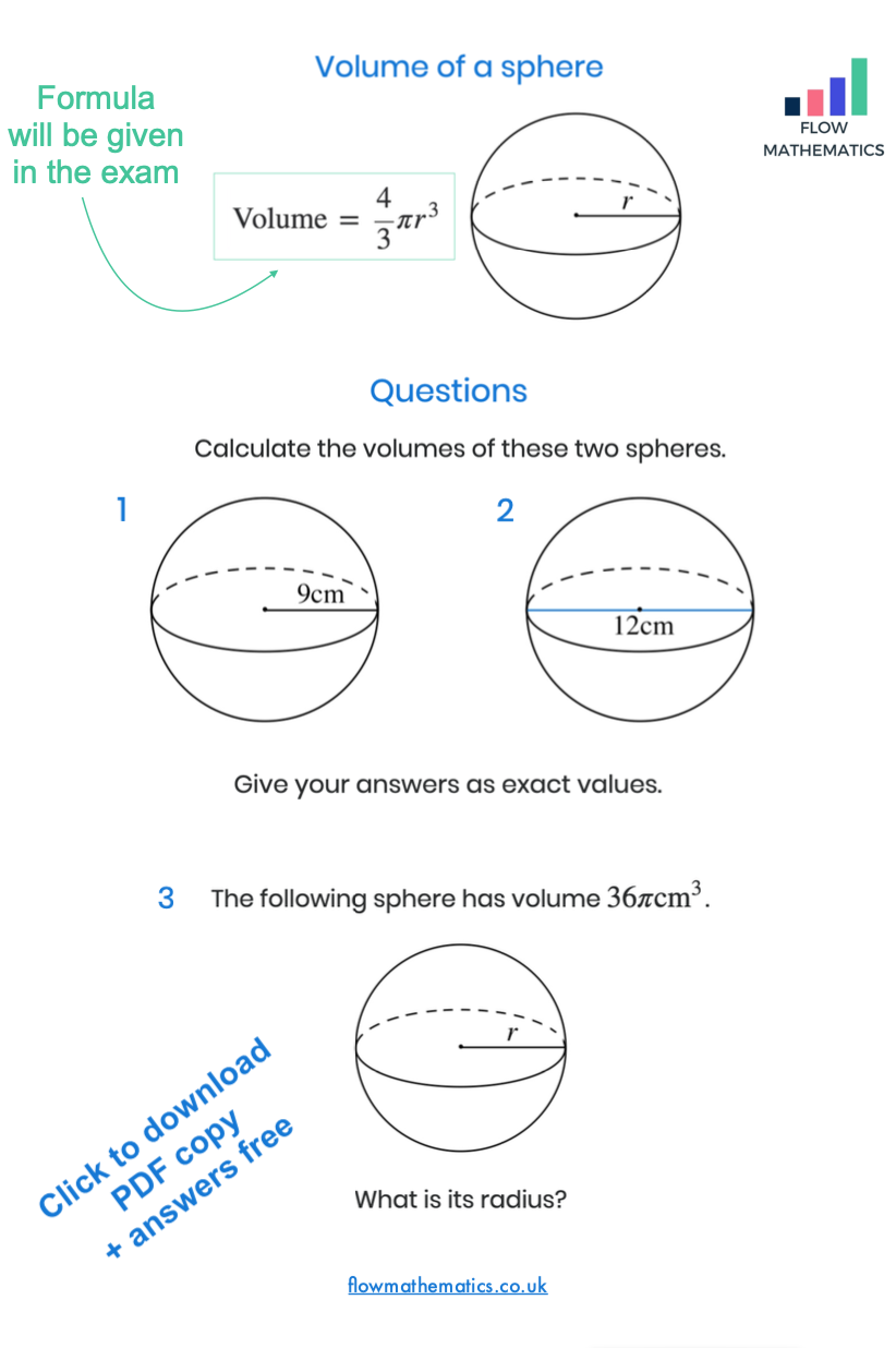 hight resolution of Volume of a sphere worksheet   Studying math