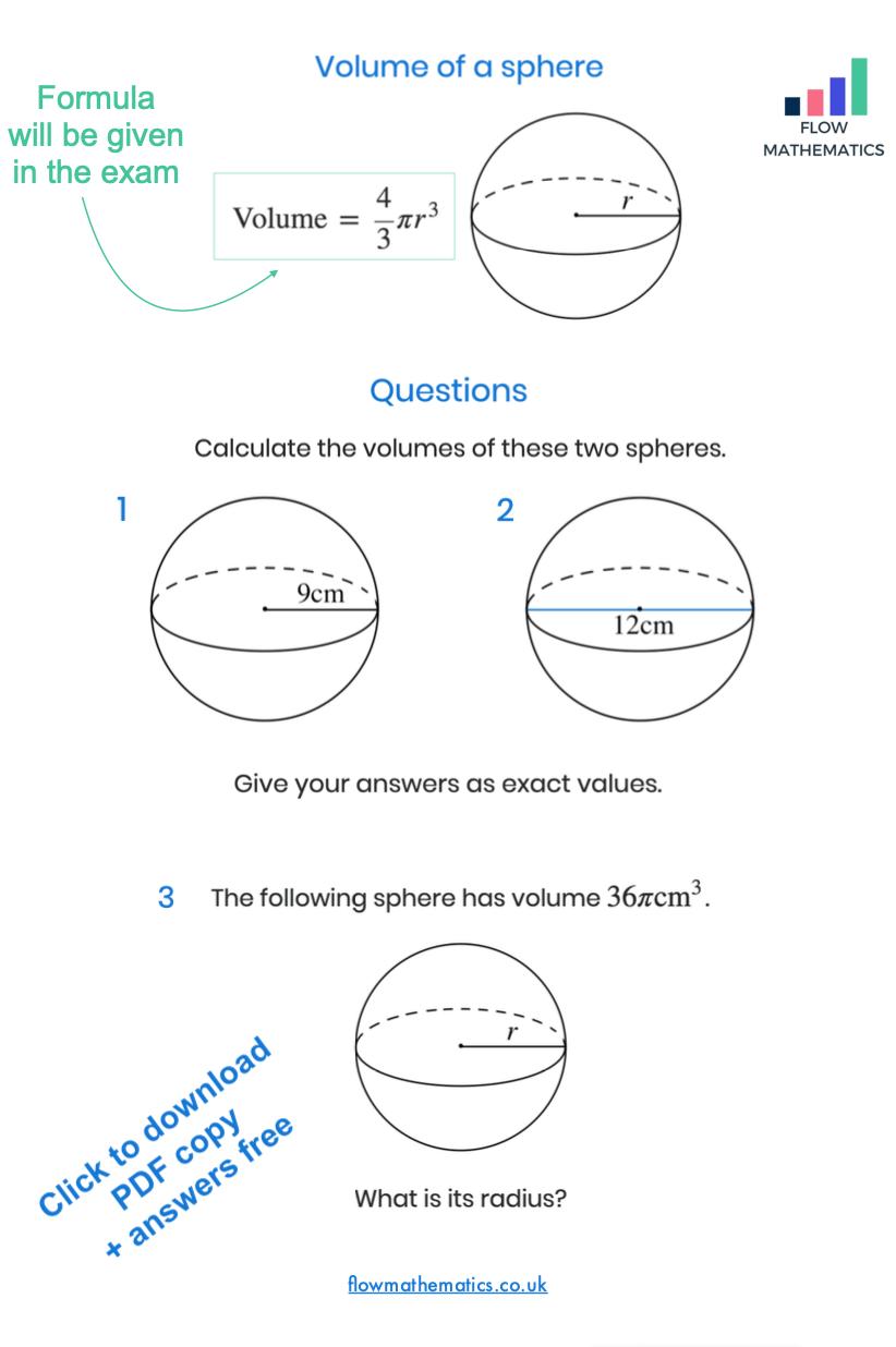 medium resolution of Volume of a sphere worksheet   Studying math