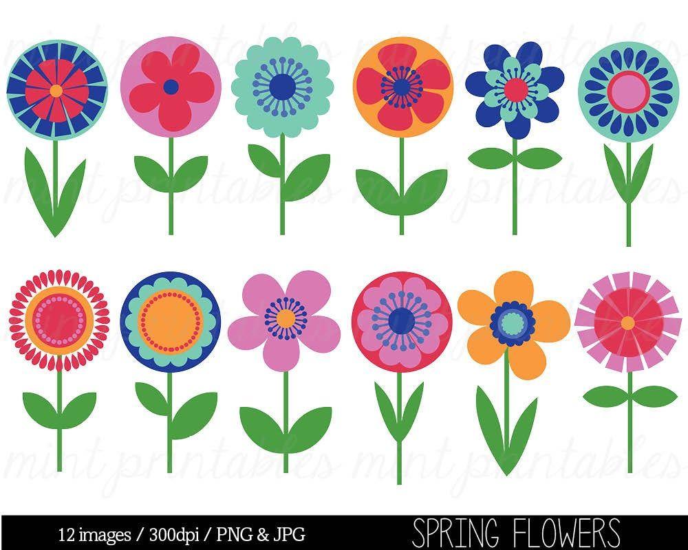 Flower Clipart Clip Art Bright Flowers Retro Vintage Etsy Flower Doodles Folk Art Flowers Flower Clipart