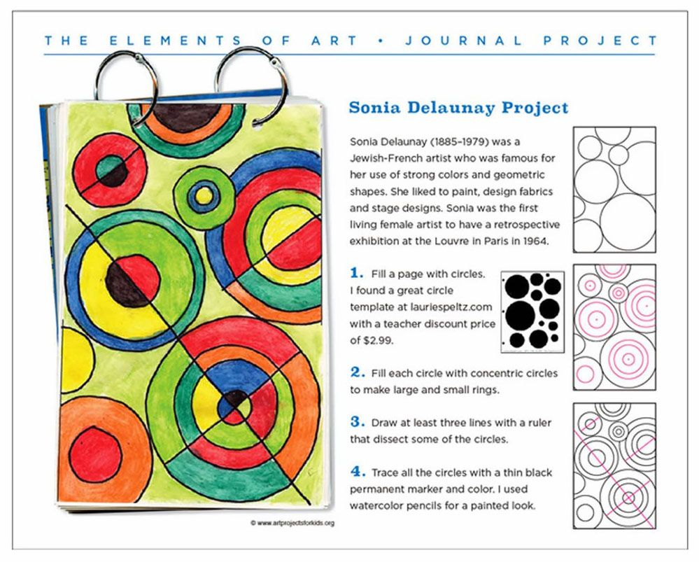 Delaunay Art Journal Page - Art Projects for Kids   Circle art projects [ 803 x 999 Pixel ]