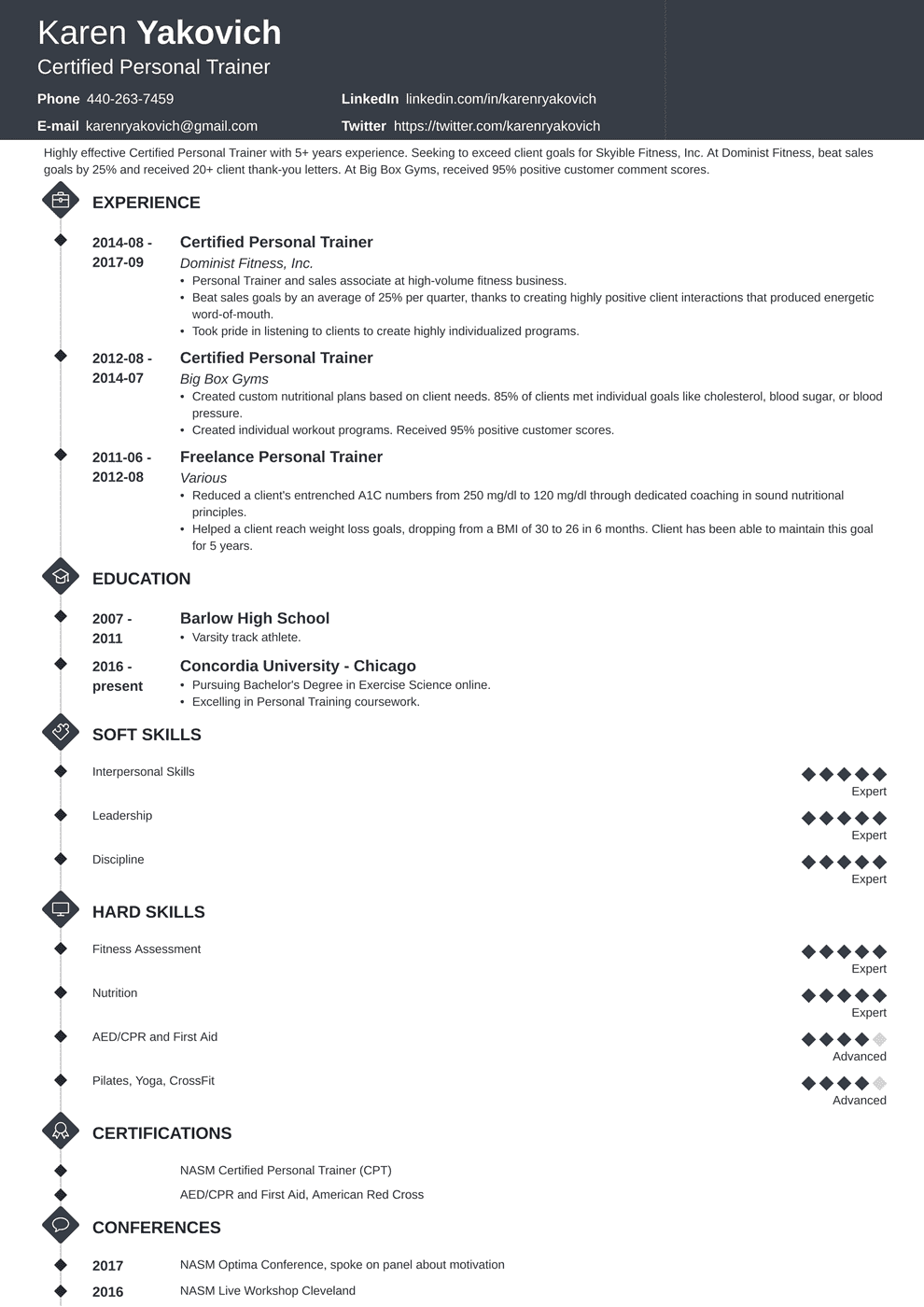 Personal Trainer Resume Example (Also for No Experience)