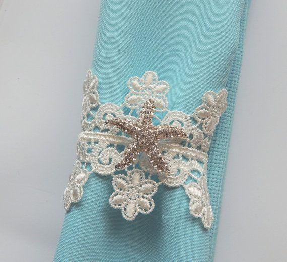 WHITE LACE Napkin Ring w/ Rhinestone STARFISH. Beach Lace Napkin Holder, Destination Wedding, Decorated Reception Table Decor, Set of 25
