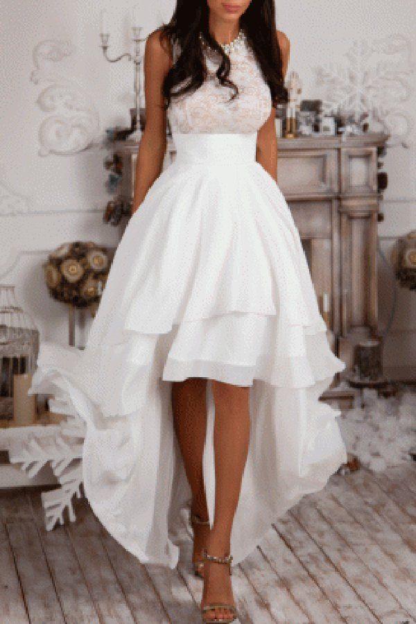 Sleeveless High Low Prom Dress White Prom Dresses High