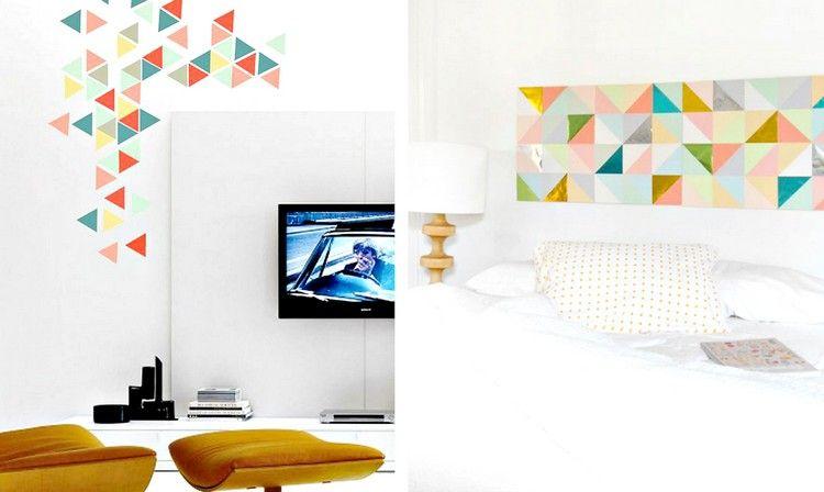 Peinture Murale Blanche à Motifs Géométriques Triangles Multicolores Comme  Un Accent Original
