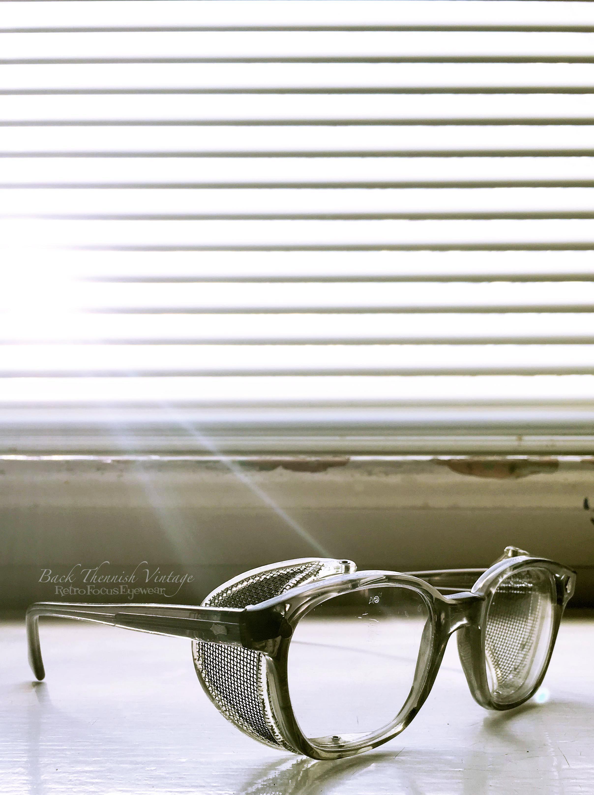 AO Hornrim Safety Glasses w Pivoting Metal Mesh Shields American ...