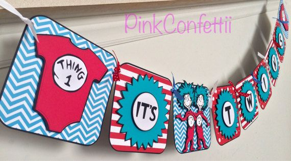 87b8a0aa4e25a Thing 1 and Thing 2 banner / baby shower banner / birthday banner ...
