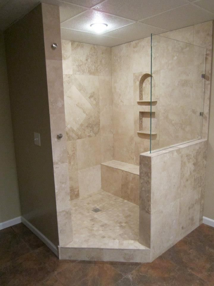Walk-in shower out of Travertine