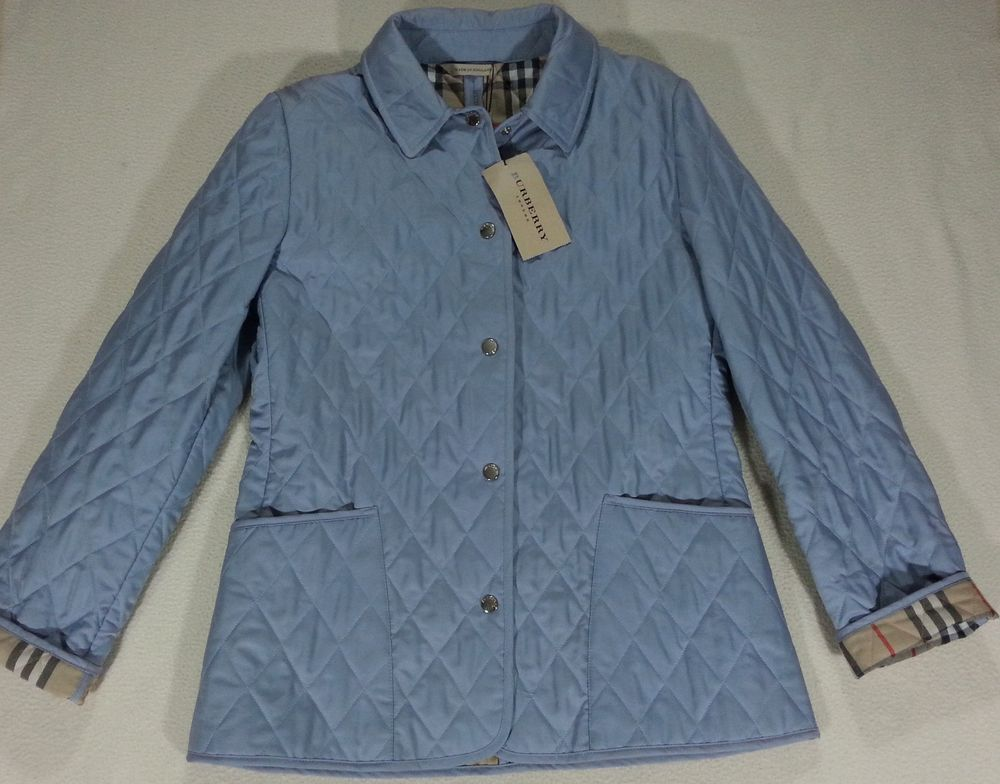 New Burberry London Quilted Women S Jacket Pirmont Kencott Light Blue Small Jackets For Women Burberry London Jackets