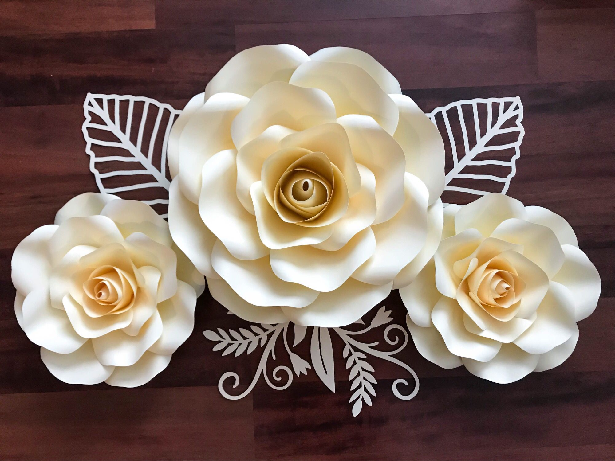 Large And Medium Paper Flower Rose Template Made By The Crafty