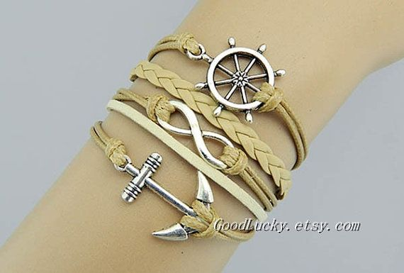 Leather charm braceletAnchor braceletinfinity by goodlucky on Etsy, $10.29