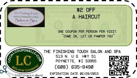 The Finishing Touch Salon And Spa Coupon In Poynette Wi Spa Salon Spa Coupons Spa Services