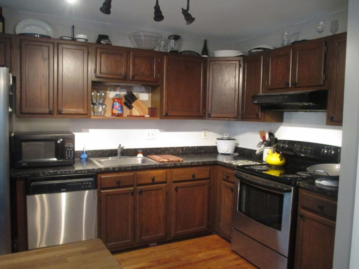 How To Stain Oak Kitchen Cabinets Darker in 2020   Stained ...