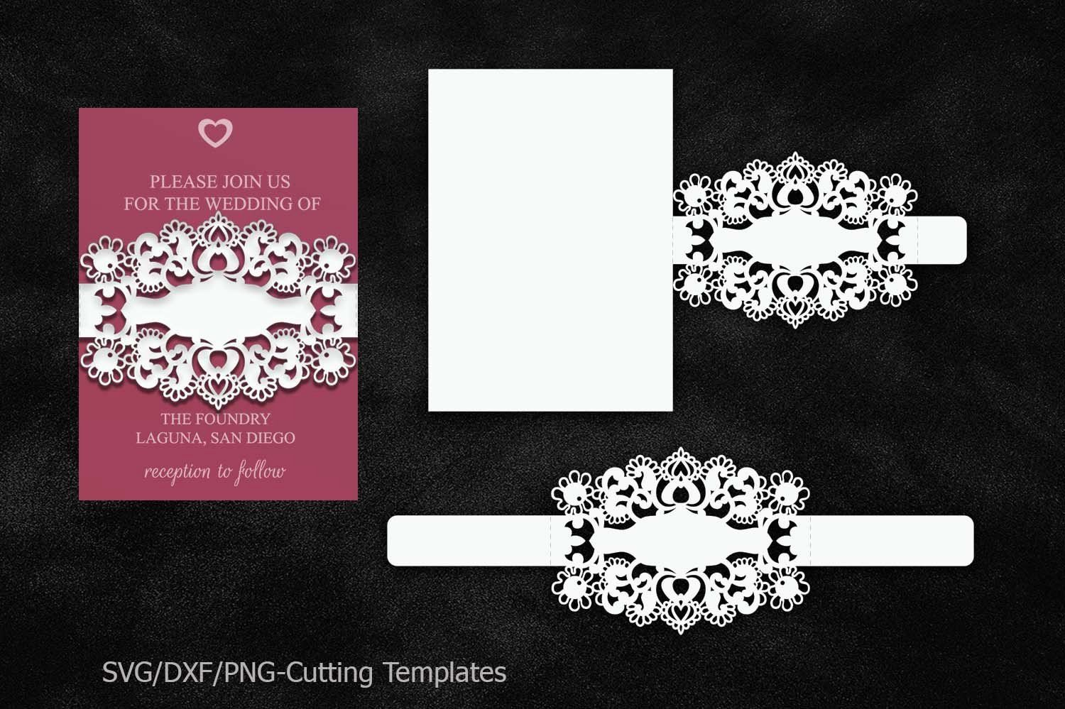 Beautiful wedding invitation belly band template with