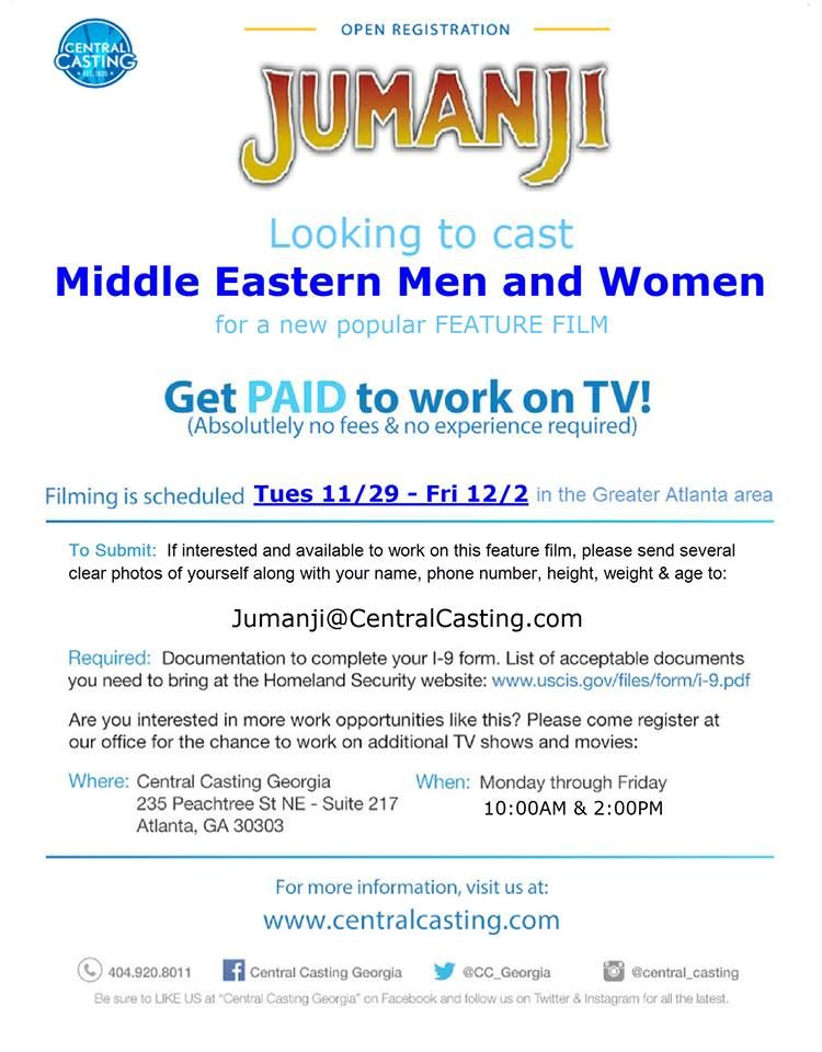 Central Casting Georgia Now Casting For The New Feature Film Jumanji Atlanta Area The Southern Casting Call Casting Call It Cast Acting Auditions