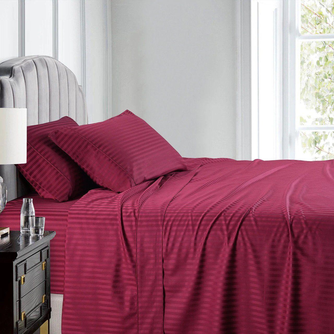 Burgundy Stripe Sheet Set Comfy Sateen Striped Sheets Sheet Sets Unique Sheet Sets