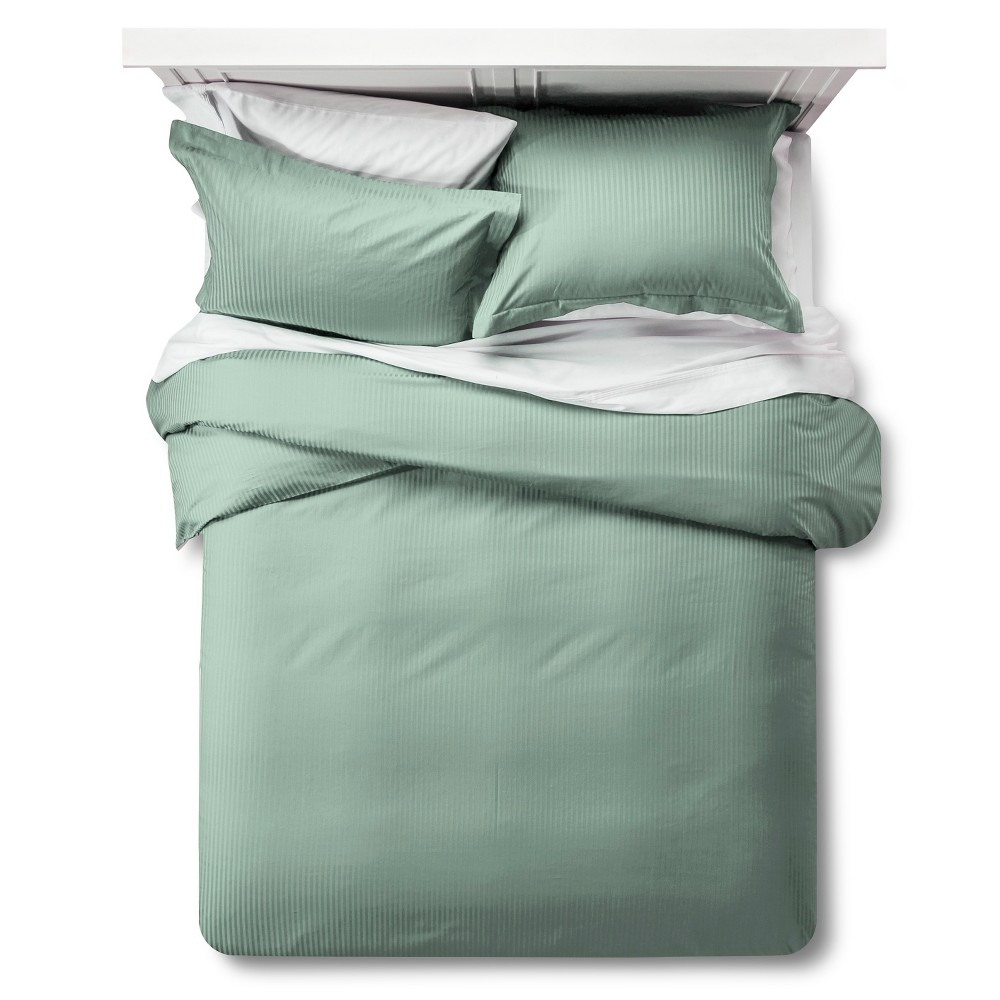 500 Tc Damask Stripe Duvet Amp Sham Set King Green