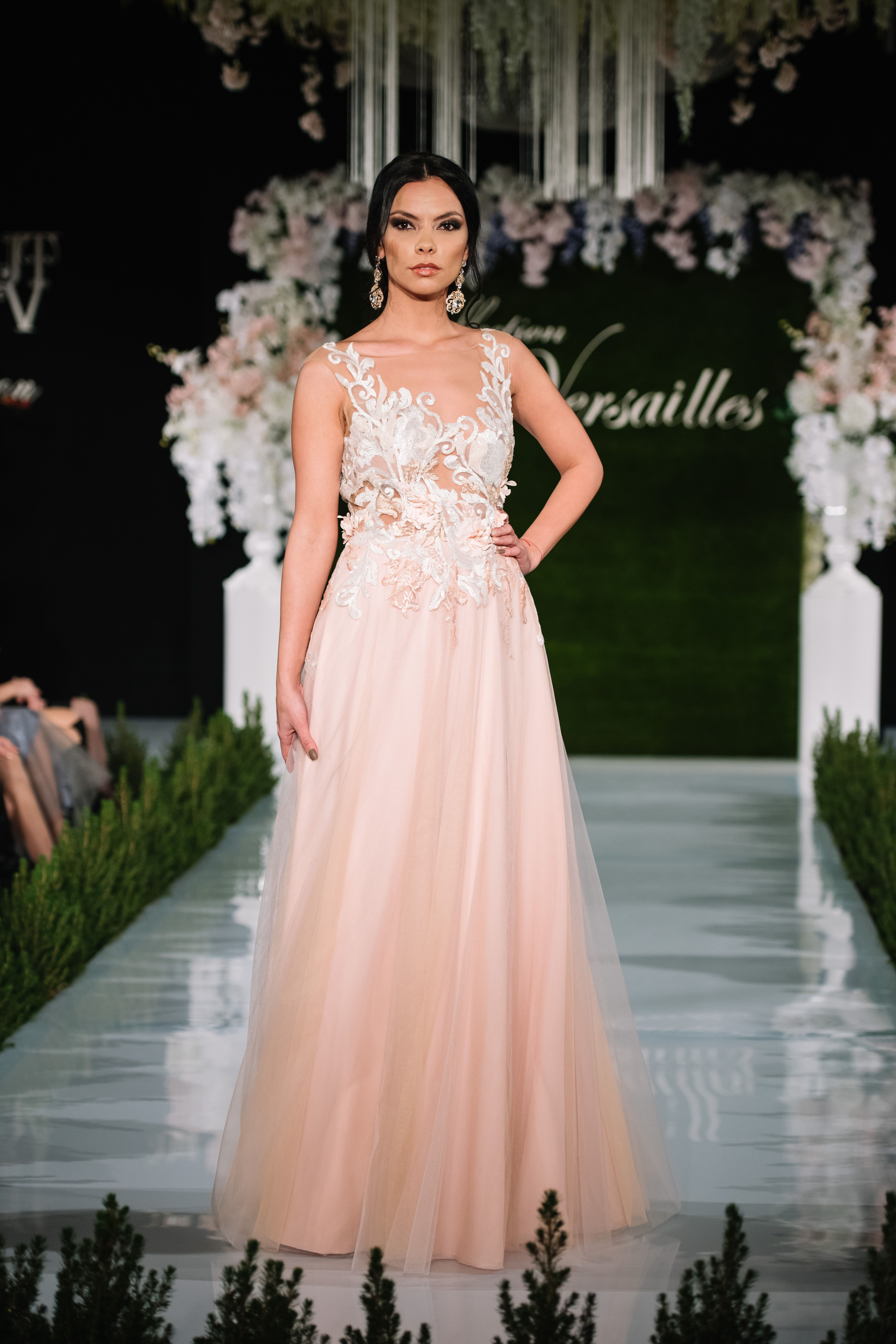Ball gown, soft peach color , lace decoration, stones, tulle, A line ...