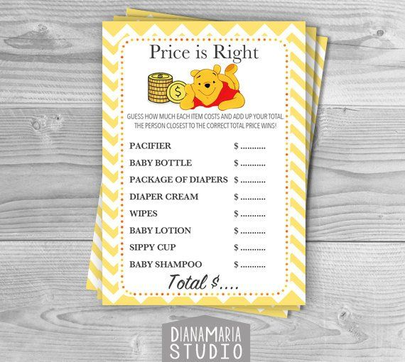 Price is Right Baby Shower Game /Winnie the Pooh Game/DIY Printable Digital File /Yellow chevron – INSTANT DOWNLOAD