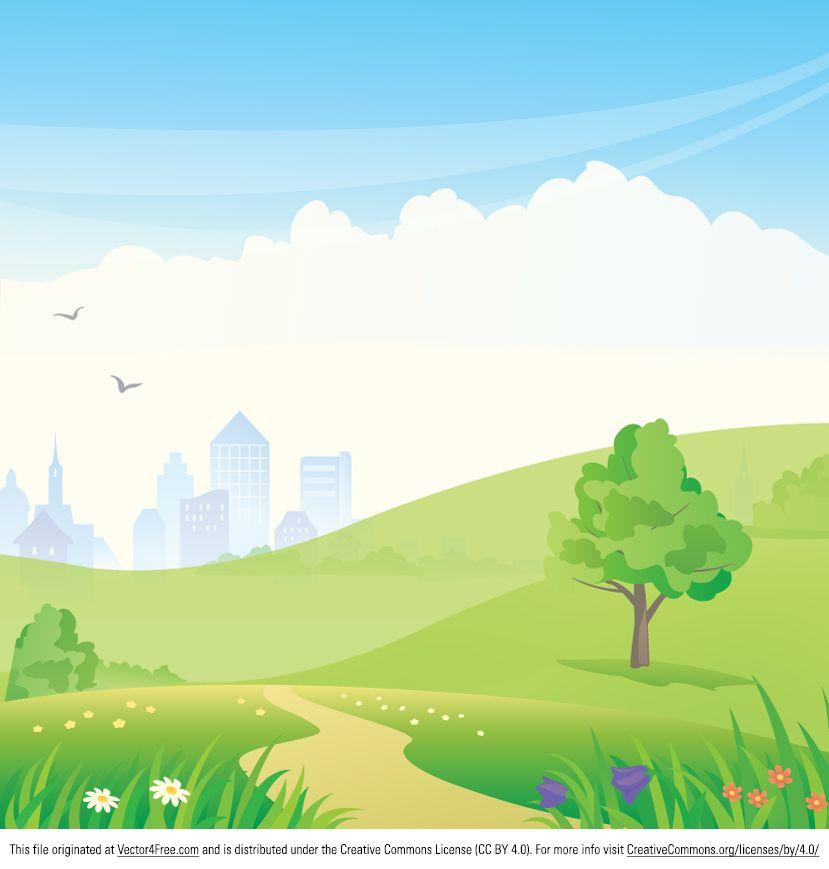 Landscape Illustration Vector Free: Urban Park Vector Good For Prezi Backgrounds