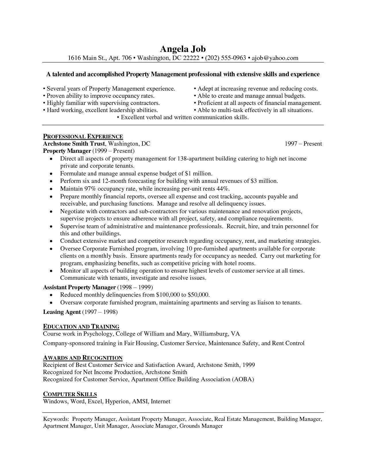 Tips To Write A Stunning Property Manager Resume Resume Skills Manager Resume Property Management