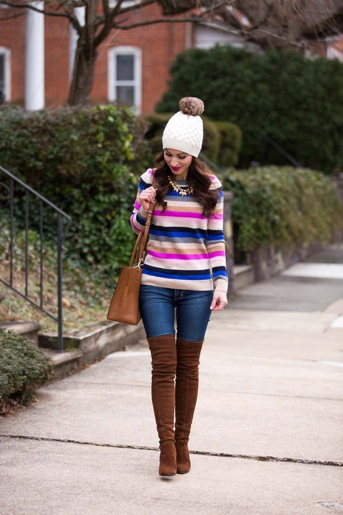 Striped Teddie Sweater / OTK Boots - Lipgloss & Labels