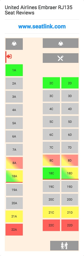United Airlines Embraer Rj135 Er3 Seat Map Airline Seating
