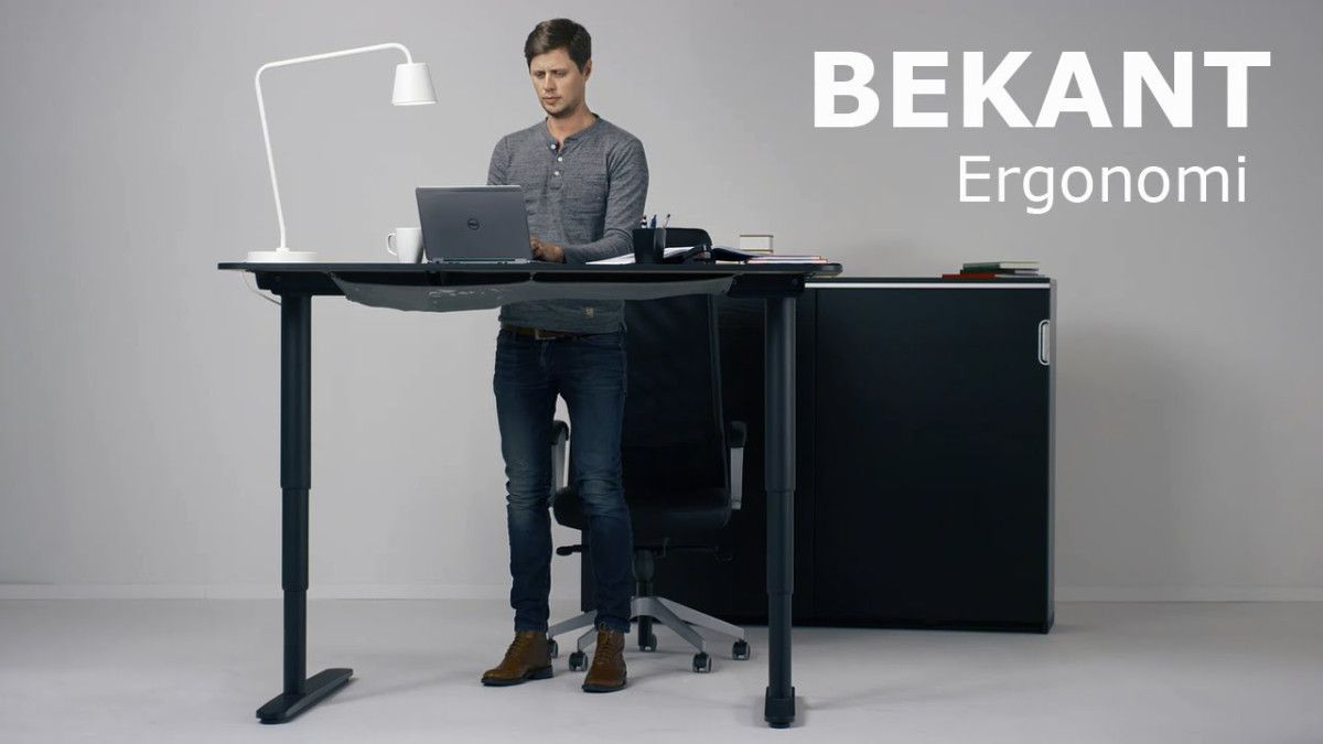 The New Ikea Bekant Sit Stand Desk Can Be Adjusted With The Push Of A Button Ikea Standing Desk Sit Stand Desk Ikea Bekant