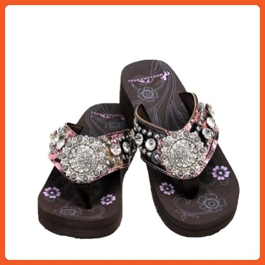 5d6b06b8a083 MONTANA WEST PINK CAMO FLORAL CONCHO COLLECTION CAMOUFLAGE RHINESTONES  WESTERN SANDAL FLIP FLOP (SIZE 9) - Sandals for women ( Amazon Partner-Link)