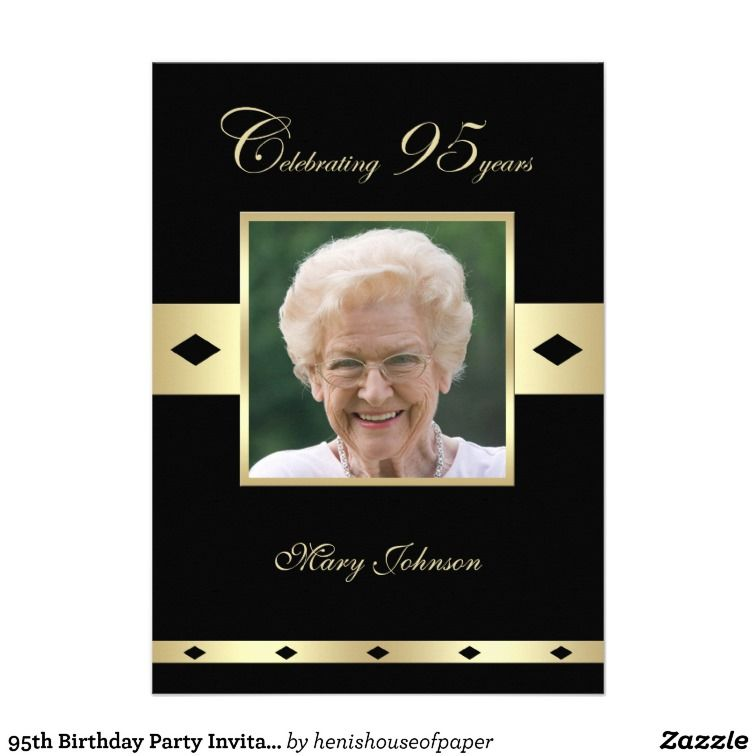 95th Birthday Party Photo Invitation 215