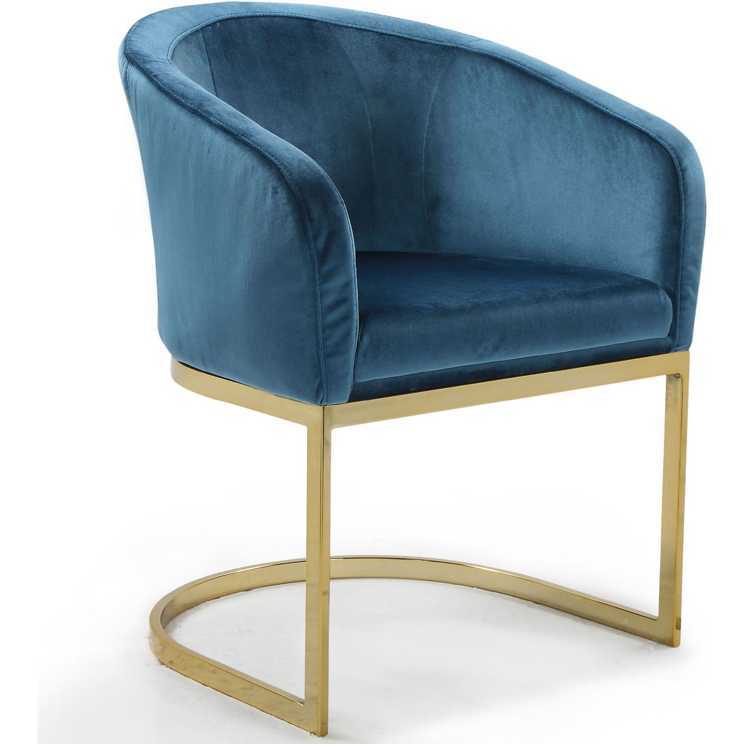 Chic Iconic Siena Accent Chair Teal Velvet Gold Metal Base