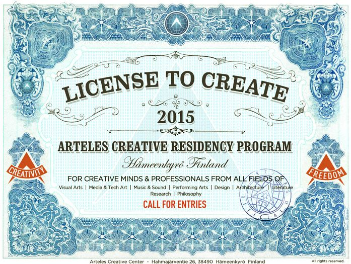 Arteles Freedom for Creativity in Finland. Application