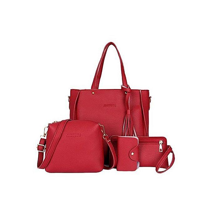 4Pcs Luxury Fashion Women Tassels Wallet Card Holder Handbag Crossbody Bag  Set-Red - Jumia Kenya 1ae0c362822