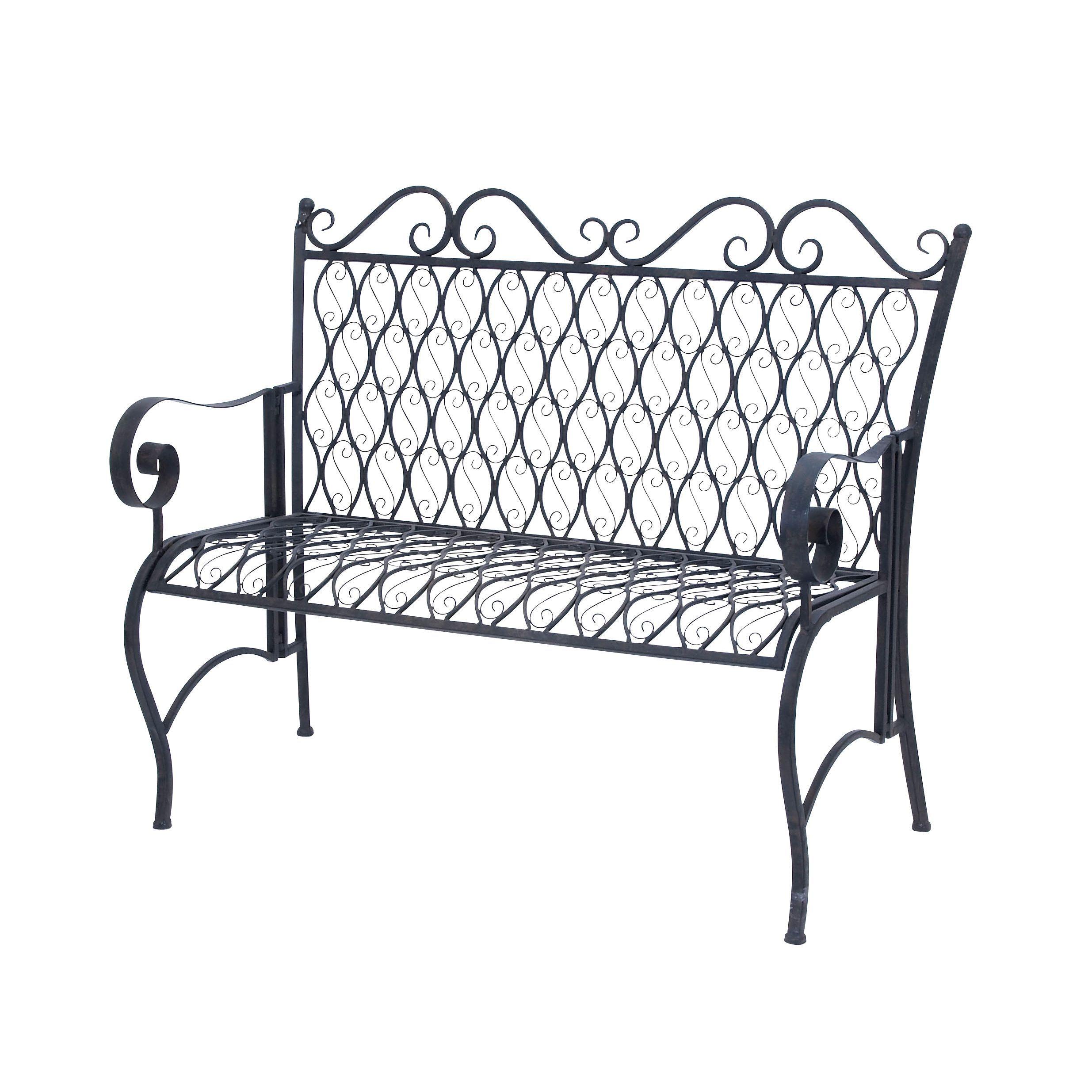 Studio 350 Black Iron Oval Bench Patio Furniture
