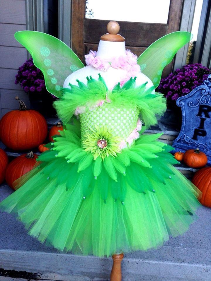 Over the top Tinkerbell tutu dress Halloween Costume with pink - halloween tutu ideas