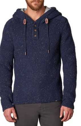 Hooded Henley Sweater Mens Products Men Sweater Sweaters